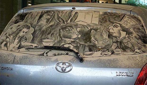 Alice on dirty windscreen