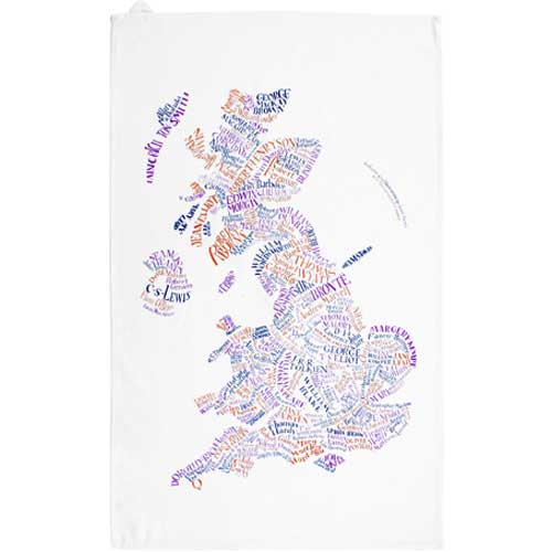 Literary Map Tea Towel