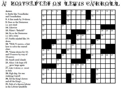 Wonderland Crossword Puzzle Lewis Carroll Society Of North America