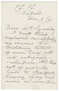 Dodgson Letter on Fame