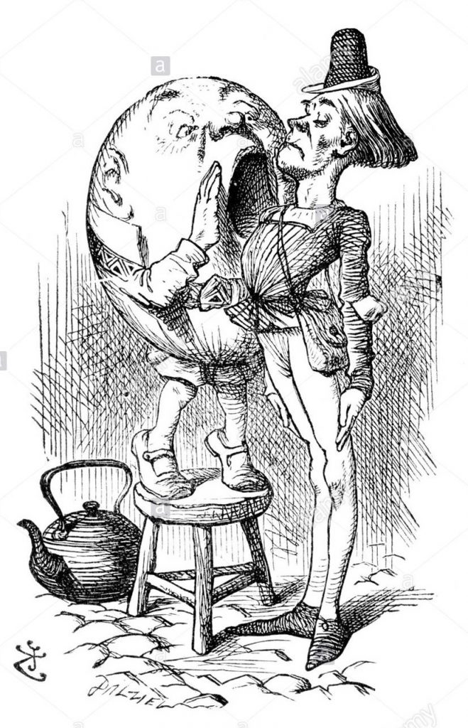 humpty-dumpty-and-the-messenger-alice-through-the-looking-glass-illustration-B7JW3B