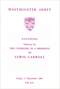 Westminster Abbey Evensong Program: Laying of the Lewis Carroll Stone