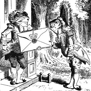Alice in Wonderland - Fish footman giving a letter to the frog footman by Sir John Tenniel