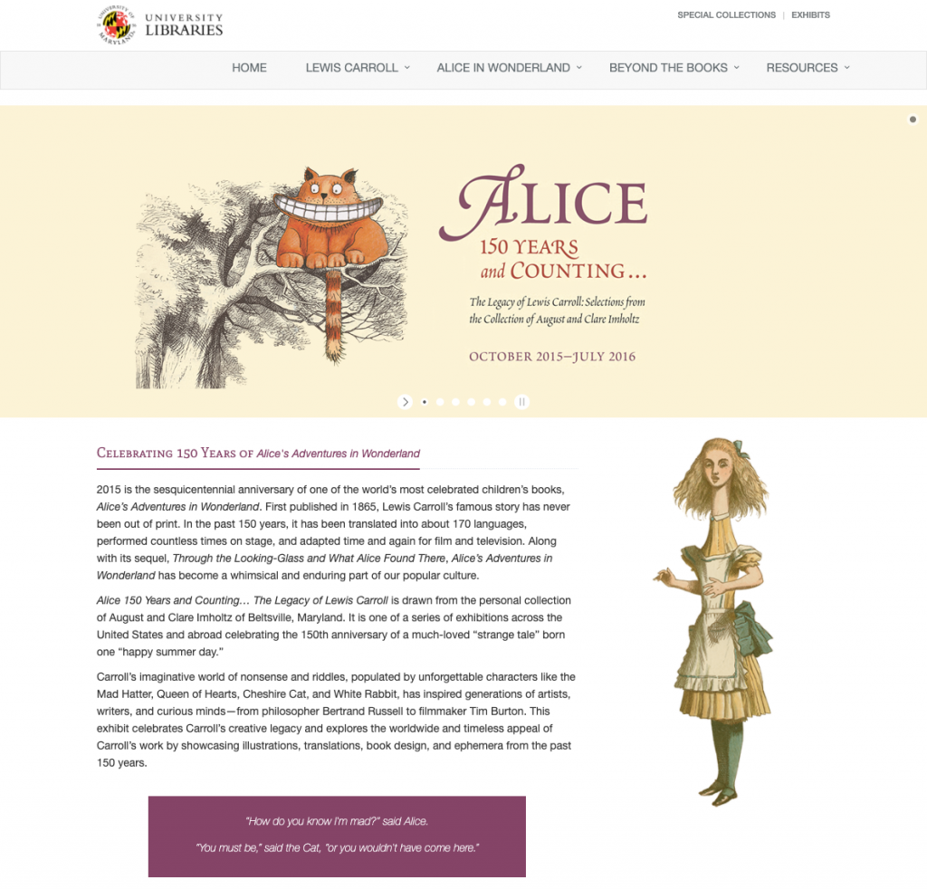 Alice 150 and Counting…The Legacy of Lewis Carroll, University of Maryland, Hornbake Library
